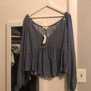 Long sleeve blue babydoll top
